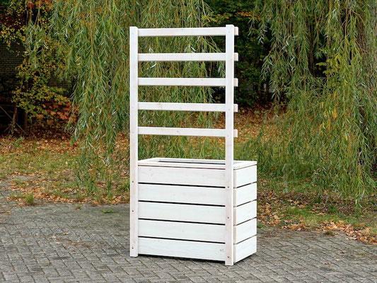 Pflanzkasten nach Maß mit Rankgitter / Spalier, Oberfläche: Transparent Weiß