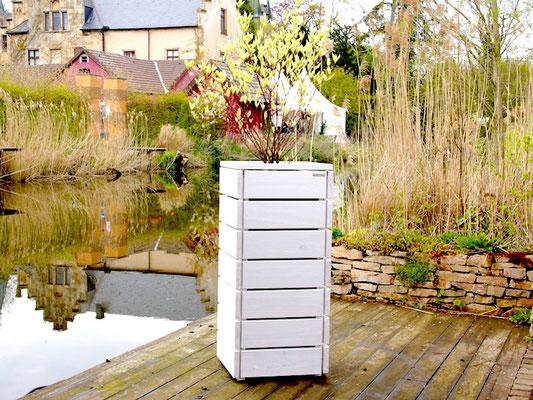Pflanzsäule / Pflanzkübel Holz M, Oberfläche: Deckend Geölt Weiß