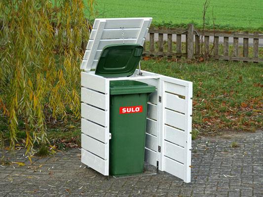 1er Mülltonnenbox / Mülltonnenverkleidung Holz, Oberfläche: Weiß (RAL 9016)