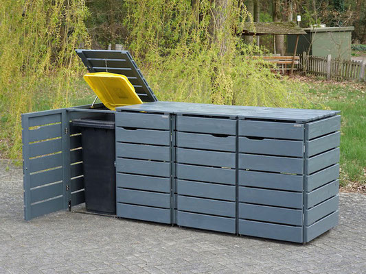 4er Mülltonnenbox / Mülltonnenverkleidung Holz, für 120 L & 240 L Tonnen, Oberfläche: Steingrau