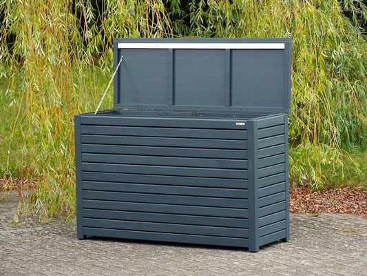 Auflagenbox / Kissenbox Holz nach Maß, Oberfläche: Anthrazit Grau, atmungsaktiv & wasserdicht