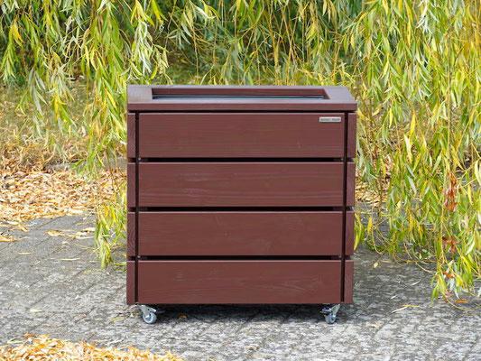 Pflanzkasten / Pflanzkübel Holz S, Höhen: 68 cm, Oberfläche: Dunkelbraun / Schokoladenbraun RAL 8017
