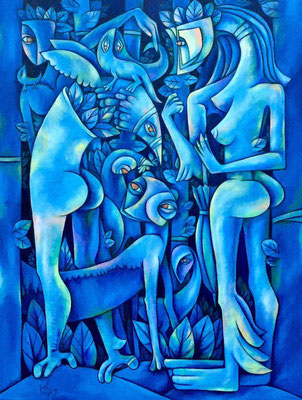 """OIL ON CANVAS  30""""x 40 """" BY :DEIBY TITLE : ENCUENTRO"""