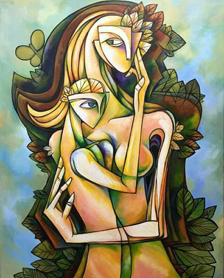 """OIL ON CANVAS 24""""X 30 """" BY :DEIBY TITLE : MADRE ORIGINAL SOLD"""