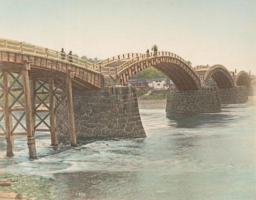 日下部金兵衛 彩色写真「岩国 錦帯橋」