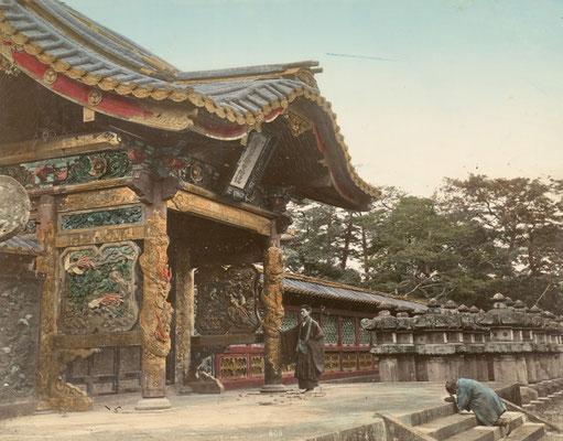 日下部金兵衛 彩色写真「芝 増上寺」