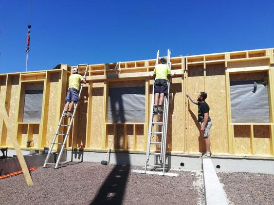 Instalation d'une muraillére pour soutien planché