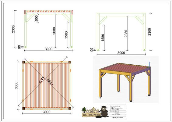 Pergola en kit : bois de douglas , poteaux 140x140 en contre collé ; lames de toiture 40x120 à partir de 1440 € hors livraison.