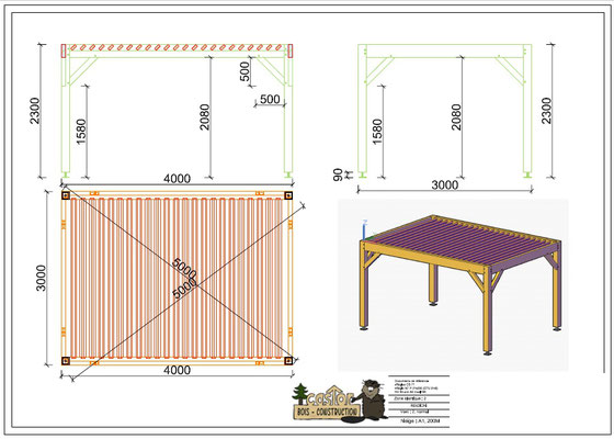 Pergola en kit : bois de douglas , poteaux 140x140 en contre collé ; lames de toiture 40x120 .
