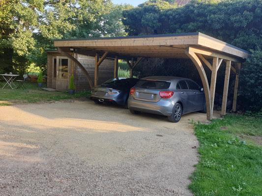 Carport karl 2 voitures  poteaux et arc en lamellé collé