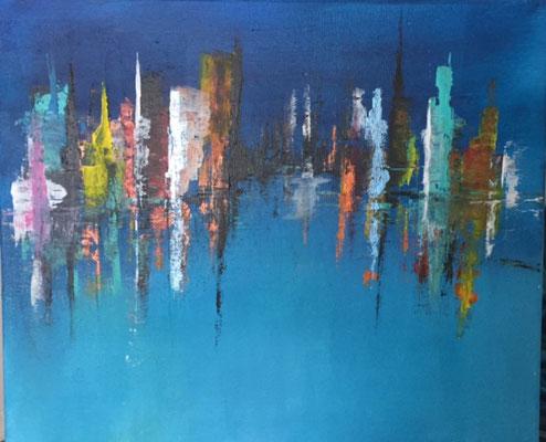 Skyline, 50  x 60  Acryl      400.-