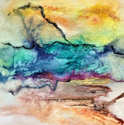 Frühlingserwachen Strukturpaste , Pigmente, Tusche  80 x 80 cm  590 .-