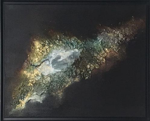Galaxy I, Acryl, Strukturpaste, Pigmente mit Rahmen 40 x 50 cm  370 .-