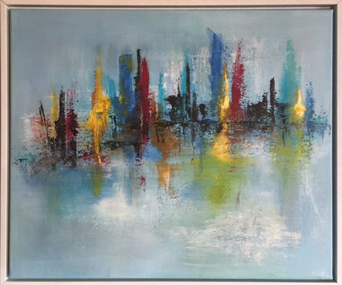 Manhatten Acryl, Farbpigmente mit Rahnen, 40 x 50 cm  400 .-