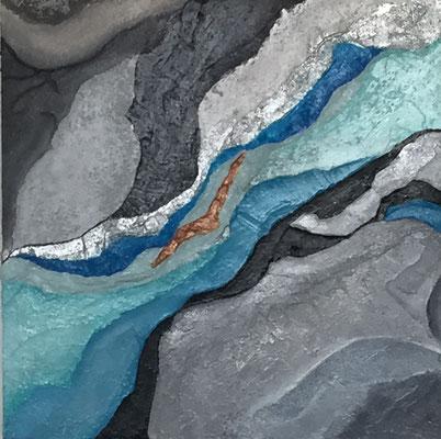 Eiszeit, 30 x 30 cm Acryl, Stukturpaste, Gaze      150 .--