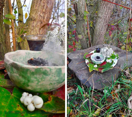 Hier zeigt sich im Rauch die weise Alte oder auch alte Greisin