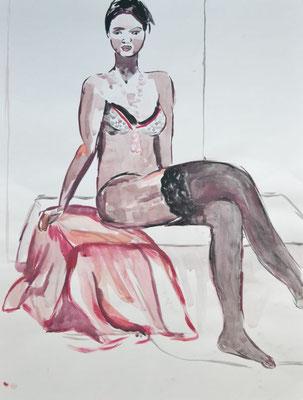 """Strapswoman"", 55x42cm, Tusche"