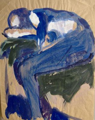 """Blauer Akt"", 1990, 59x46cm, Acryl"