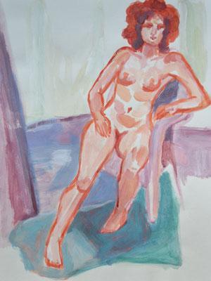 """""""Frau in orange"""", 47x36cm, Acryl"""