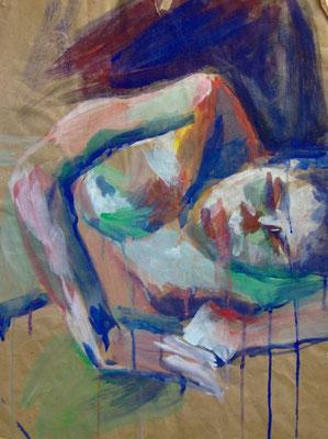 """""""Farbiger Akt"""", 1990, 55x42cm, Acryl"""
