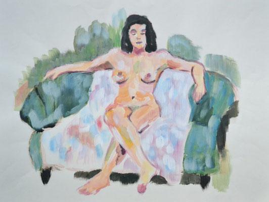 """""""Akt auf Sofa"""", 42x55cm, Acryl"""