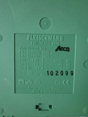 Technische Daten MFZ-Trafo Fleischmann 6810