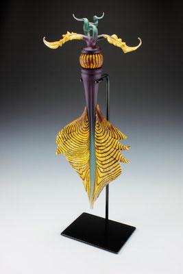 "Amethyst & Sage Talisman with Batik Sphere Inclusion 35"" Tall"