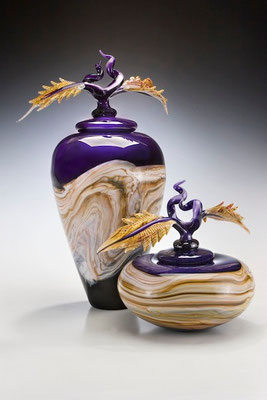 Amethyst Covered Jar and Bowl with Avian Finials