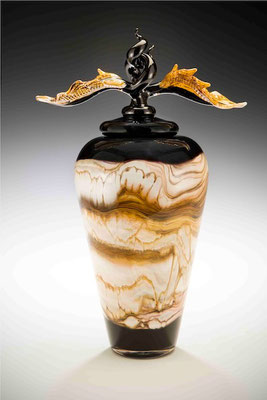 Black Strata Covered Bowl with Avian Finial