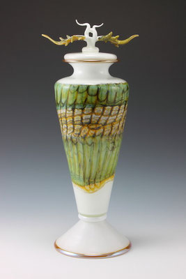 White Opal Covered Vessel with Avian