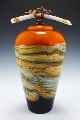 Tangerine Strata Covered Jar with Bone & Tendril Finial