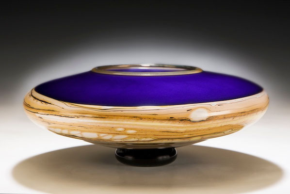 Cobalt Strata Footed Bowl