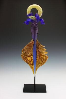 "Amethyst & Cobalt Amulet - 34"" Tall"