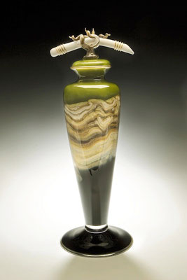 Lime Strata Covered Footed Vessel with Bone & Tendril Finial