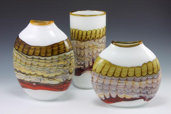 Large Flattened Vase (Left) Small Flattened Vase (Right) Cylindric Vase (Rear)