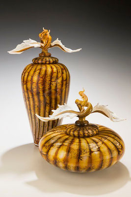 Batik Covered Jar and Bowl