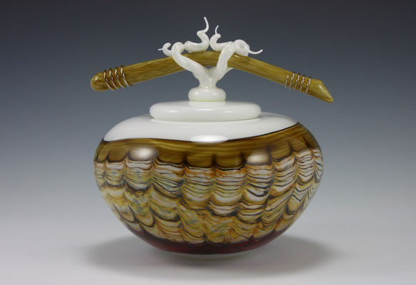 """Opal with Sargasso Covered Tall Bowl with Bone & Tendril Finial - 10"""" Tall x 10"""" Dia."""