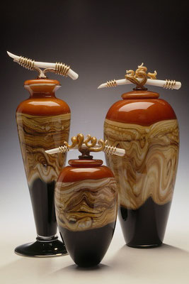 Tangerine Strata Covered Vessels with Bone Finials