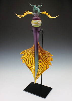 """Amethyst & Sage Talisman with Marbled Sphere Inclusion - 35"""" Tall"""