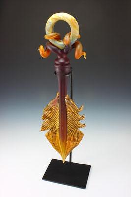 "Dark Ruby & Tangerine Amulet - 34"" Tall"