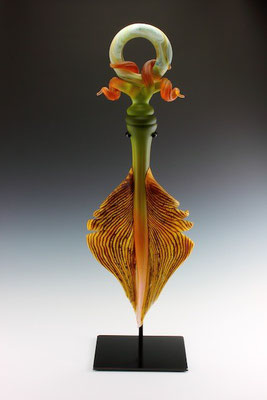 "Lime & Tangerine Amulet - 34"" Tall"