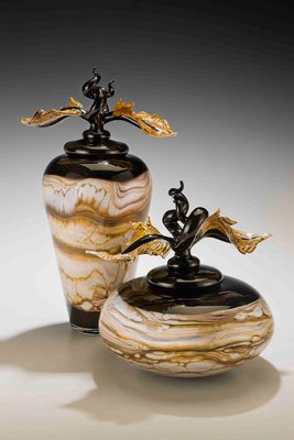 Black Strata Covered Jar and Bowl with Avian Finials