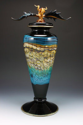 Black Opal (with Turquoise) Footed Vessel