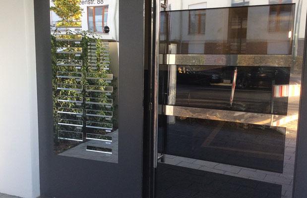 Türseitenteil Briefkastenanlage bei der Firma Boshammer in Düsseldorf
