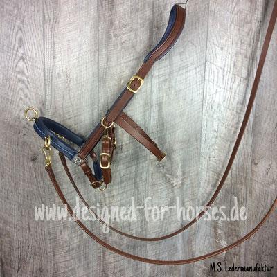Kappzaum aus Leder, Maßanfertigung Quarter Horse