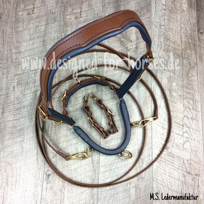 Kappzaum aus Leder, Maßanfertigung Quarter Horse, anatomisch geformt