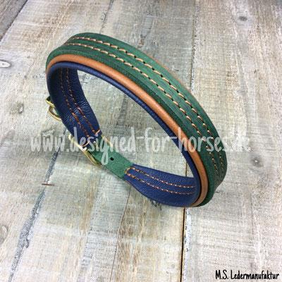 Hundehalsband aus Fettleder mit 2 verschiedenen Farben gepolstert
