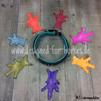 verschiedene Farben Hühnerfüßchenleder, geeignet für kleine Inlays an Hundehalsband