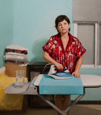"""Woman ironing (my mother)"" - Oil/Panel 