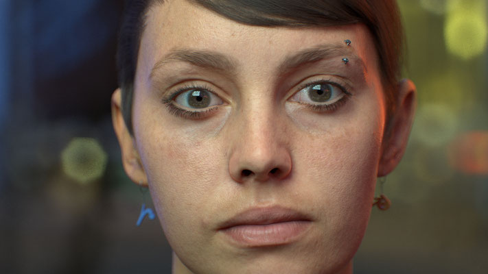 """Study of human skin using Emily 2.1"" Pixar Renderman for Blender 2016"